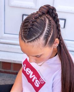 20 Tresses Coiffure Et Quiffed Ponytail Hairstyle Ideas 8 - Braid Hairstyle De. Braided Ponytail Hairstyles, Easy Hairstyles For Long Hair, Baddie Hairstyles, Braids For Long Hair, Weave Hairstyles, Pretty Hairstyles, Girl Hairstyles, Hairstyle Ideas, Cool Braids