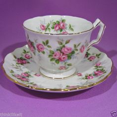 AYNSLEY GROTTO ROSE TEA CUP and SAUCER CROCUS STYLE in Pottery & Glass, Pottery & China, China & Dinnerware | eBay