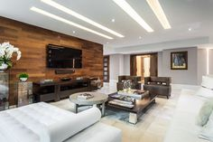 Find Contemporary Homes and Contemporary Decor Online Blue Bedroom Decor, Bedroom Decor For Couples, Wooden Wall Design, Interior Decorating, Interior Design, Formal Living Rooms, Modern Living, Contemporary Decor, Living Room Designs