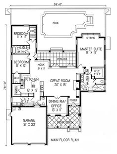 Plan #1-1093. Spanish style home with a living S.F. of 2226 (3173 S.F. Total), 2 full baths and 1 half baths. 1 story home, 56'' wide, and 75'' deep.