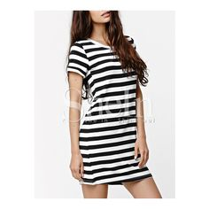 SheIn(sheinside) Black White Short Sleeve Striped T-Shirt Dress ($9.99) ❤ liked on Polyvore