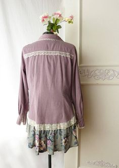 One of a kind, up-cycled Gloria Vanderbilt corduroy shirt, romantic top, Stevie Nicks top, size large XL, festival top, vintage skirt, country chic, shabby chic, mori girl, cottage chic, dusty lavender, pearl snap closures This shirt was made from an upcycled Gloria Vanderbilt corduroy