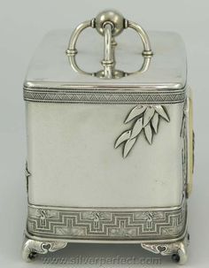 Christopher Dresser Sterling silver tea caddy for Tiffany, late 19th century.