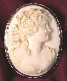 Victorian/Edwardian Ivory Cameo Brooch/Pendant, 1885-1910