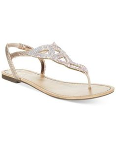 Material Girl Swirlz T-Strap Flat Sandals, Only at Macy's | macys.com