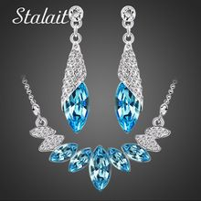 Svadobné Svadobné party Rakúsky prvok Crystal Silver Farba kvapky vody Prívesok Náhrdelník Náušnice Sady šperkov