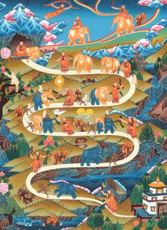 The Nine Progressive Stages of Mental Development According to Shamatha Meditation Practice (Tibetan Thangka Painting). The practice of Shamatha meditation develops the ability to focus the mind in single-pointed perfect concentration and is a prerequisite for the development of vipashyana or analytical insight meditation. Shamatha meditation should ideally practice in an isolated place and one should seat in meditation posture of Vairochana Buddha.