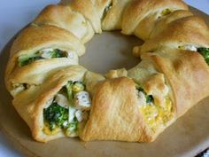 This pampered chef recipe is so good and easy to make! I usually mix chicken, broccolli, cream of chicken, and cheese and mix it all together in a bowl, put the crescent rolls out in a circle like a sun shape, put the mixture in the middle, fold over the points to the middle, and bake. You could use anything though I even saw it done with pie fillings and such like a dessert! :)