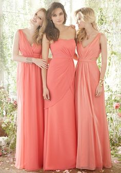Coral bridesmaid dresses- Like the length and the style but needs to be a little darker