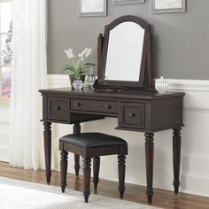 Ribbon Wood Makeup Vanity Table and Stool Set | Mary Kay | Pinterest ...