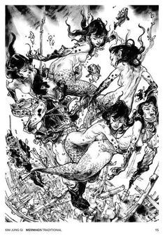 Mermaids by Kim Jung Gi * - Art Vault Portrait Sketches, Art Sketches, Ink Illustrations, Illustration Art, Junggi Kim, Character Art, Character Design, Dark Art Drawings, Ange Demon