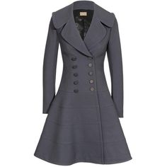 Azzedine Alaïa Wool Princess Coat ($3,485) ❤ liked on Polyvore featuring outerwear, coats, jackets, coats & jackets, women, double breasted woolen coat, alaia coat, long sleeve coat, full skirt and double breasted wool coat