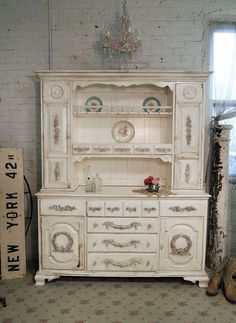 Painted cottage chic shabby tea stained farmhouse china cabinet