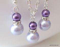 Purple bridesmaid jewelry set lavender bridesmaid by Gemnotic, €11.00