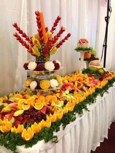 New Fruit Table Party Snacks Ideas Fruit Tables, Fruit Buffet, Fruit Centerpieces, Fruit Arrangements, Centerpiece Wedding, Table Wedding, Wedding Decoration, Fruit Party, Snacks Für Party