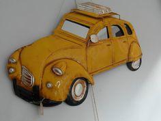 Mooi uitgewerkte metalen 3D wanddecoratie Citroën 2CV, de Lelijke Eend.