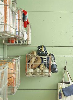 This would be great for inside my shed! Tonya Heavy-duty metal milk crates become handy catchalls for almost anything when mounted to the wall. Use them in an entry or mudroom to corral sports gear or in a craft room to organize fabrics. Milk Crate Storage, Wall Storage, Diy Storage, Storage Ideas, Storage Baskets, Storage Solutions, Shop Storage, Creative Storage, Extra Storage