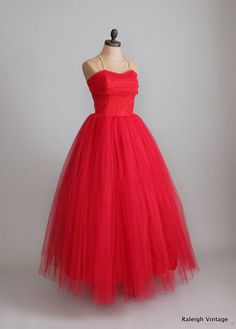 Vintage 1950s Red Tulle and Rhinestone Princess Prom Dress via Etsy.