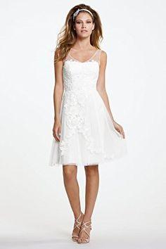 Marry You 2015 Short Knee Length Wedding Dress Transparent Shoulder Straps Lace Appliqued MY0201h >>> Visit the image link more details.