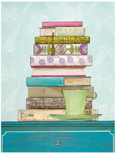 """patterned library"" by arnie fisk. Books and tea :) Nice!"