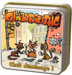 """Les chats qui traînent dans les ruelles ont envie de rejoindre leur pénates. Aidez les. """"Chabyrinthe"""" est composé de cartes Chat de différentes valeurs et de cartes Ruelles de différentes formes. En début de partie on forme un labyrinthe avec 9 cartes représentant Ruelle. Antoine Bauza - 2007."""