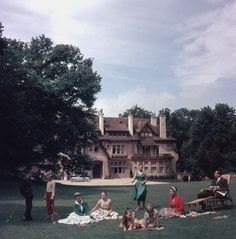 Slim Aarons, The Comte de Paris, pretender to the French throne, with his wife the Comtesse and their children at their home, the Manoir du Coeur Volant, Louveciennes, France, 1956. On show now at Staley-Wise in NYC.