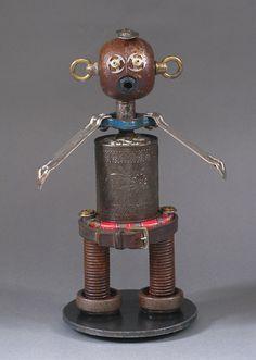 ROBOT SCULPTURE  Metal art sculpture Junk by CastOfCharacters23, $135.00