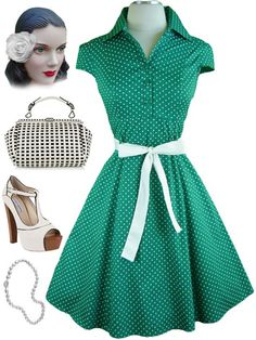 Please wait  Image not available        * Zoom      * Enlarge    Mouse here to zoom in  Please wait  Image not available  	  50s Style GREEN & White POLKA DOT Pinup HEPCAT Dress