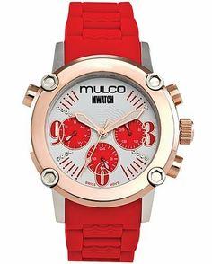 Mulco MW2-28049-061 Stainless Steel Chronograph MWATCH red band Watch MULCO. $235.00. Fashion, swiss, PU band, oversized, red, sports