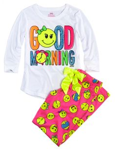 Good Morning Front Back Pajama Set | Girls Pajamas & Robes Pjs, Bras & Panties | Shop Justice