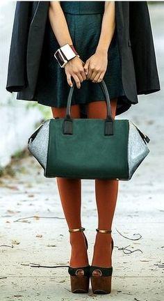 emerald & rust orange leggings