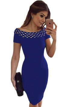 Blue studded body con dress