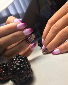 Beach nails, Beautiful nails to the sea, brilliant nails, mix match nails, Nails with rhinestones, Pink and purple nails, Saturated nails, Summer nails 2019