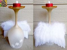 Angel Wine Glass Candle Holder