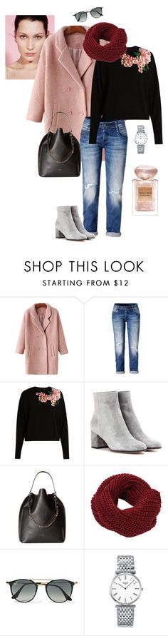 """""""Powdery pink coat"""" by ulusia-1 ❤ liked on Polyvore featuring Dolce&Gabbana, Gianvito Rossi, Furla, Ray-Ban, Longines and Giorgio Armani"""