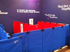 A learning maze is constructed with our lightweight, fabric MP10 Room Dividers.