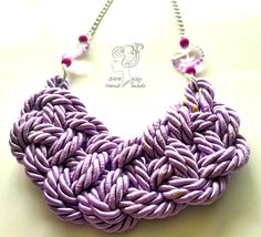 Lilac Rope Necklace, Purple Necklace, Chunky Necklace, Satin Cord Necklace, Braided Necklace, Gift for her Idea, Silver Chain, Violet