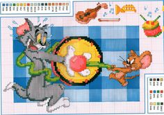Tom e Jerry - 02 Disney Cross Stitch Patterns, Counted Cross Stitch Patterns, Tom Og Jerry, Stitch Cartoon, Disney Stitch, Cartoon Movies, Le Point, Cross Stitching, Pixel Art