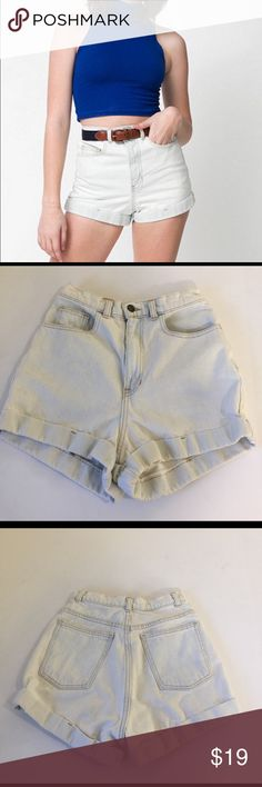 American Apparel High Waisted Shorts, size 27 American Apparel High Waisted Shorts in size 27. Flat lay measure of the waist is 13. Rise is 12.75 and inseam is about 2. Made from 100% cotton. Color is a very light wash. There is a slight discoloration above the rear right cuff (picture 8) and price reflects this. Please look at all photos and ask if you have any questions. American Apparel Shorts Jean Shorts
