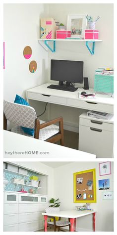 We finally have an organized and creative shared office space and craft room…