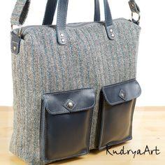 KudryaArt. Авторские сумки и рюкзаки.: Серая твидовая сумка
