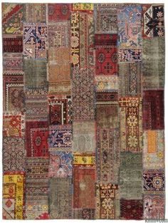Patchwork vintage rug created from pieces of miscellaneous handwoven Turkish pile rugs around 50 years old.