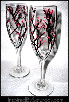 Cherry Blossom Painted Champagne Flutes-- painting with glass paint, DIY description