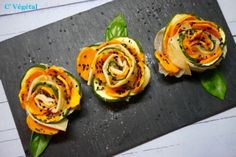 Rosettes aux courgettes et patates douces - Little zucchini and sweet potato rose pies