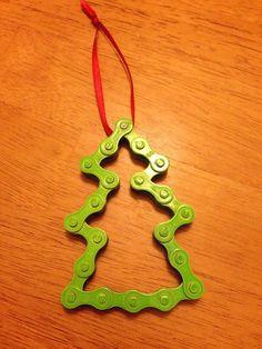 Handmade Bike Chain Christmas Ornament - Christmas Tree