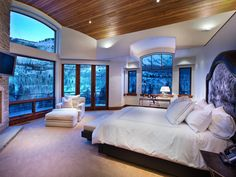 Valued at $48.5 million, Jigsaw Ranch has 5 bedrooms, 7 bathrooms, a game room, theater, 6-washer laundry room and a wine cellar. Check out the spectacular view from 1 of the bedrooms.