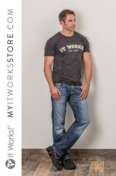 It Works! Dark Grey Burnout Tee // When you want to wear a tee without sacrificing style, the IT WORKS! burnout is your answer. Great by itself or layered under our black plaid button down,the classic design will make this a go-to item in your closet.