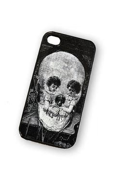 iPhone case Optical Illusion Vintage Skull by TheCuriousCaseLLC