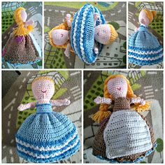 This is a lovely crochet doll pattern perfect for story telling! 2 dolls in one! Flip over poor raggy Cinderella's skirt to make the doll into the beautiful princess ready for the ball!
