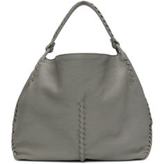 Grained leather shoulder bag in 'cement' grey. Intrecciato-woven stitching throughout. Suede lining in tan at interior featuring note slot and zippered pocket. Streetwear Brands, Leather Shoulder Bag, Shoulder Bags, Hobo Bag, Bottega Veneta, Luxury Fashion, Grey, Stuff To Buy, Collection